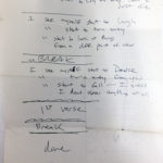 Handwritten lyrics of Point of View